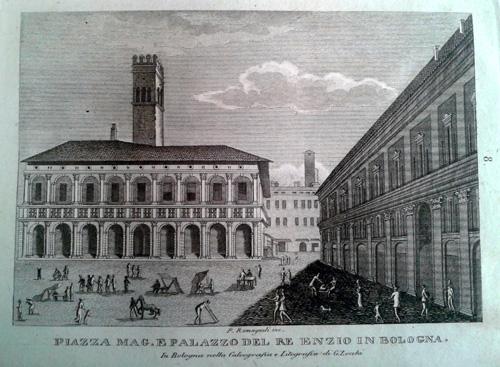 Giovanni Zecchi ca 1833-40, Piazza Maggiore e Re Enzo