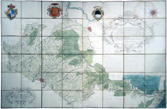 Andrea Chiesa Carta topografica Pianura Bolognese 1762
