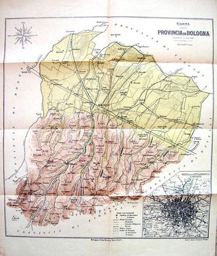 Bologna Cartina Fisica.Federico Sauer 1911