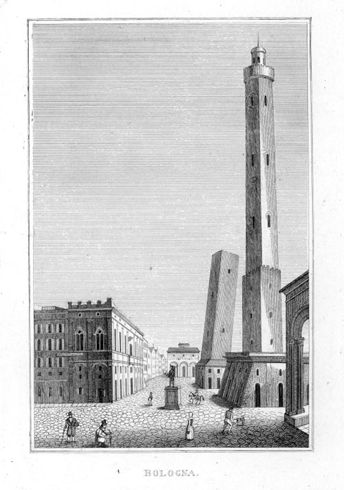 Bologna Due torri incisione 1835 1850
